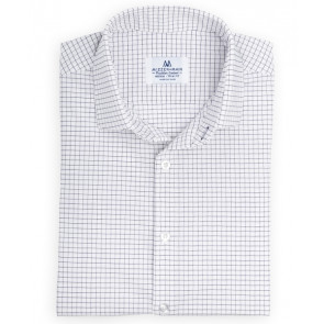 Kennedy Shirt - White with Navy Windowpane - Standard Fit (L-6005)