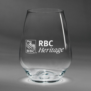 Fashion Stemless Red Wine Glasses Set of Four (07-543) with RBC Heritage Logo