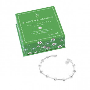 Golf Goddess Stroke Counter Bracelet - Silver with Golf Ball Bead Charm