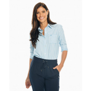 Ladies Emery Striped Button Down Shirt - Sail Blue (7345)