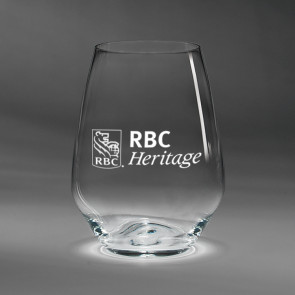 Fashion Stemless White Wine Glasses Set of Four (07-542) with RBC Heritage Logo